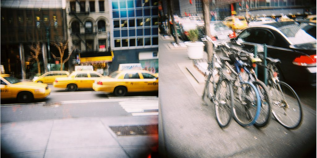 nyc analog street photography cabs and bikes by wendy g photography