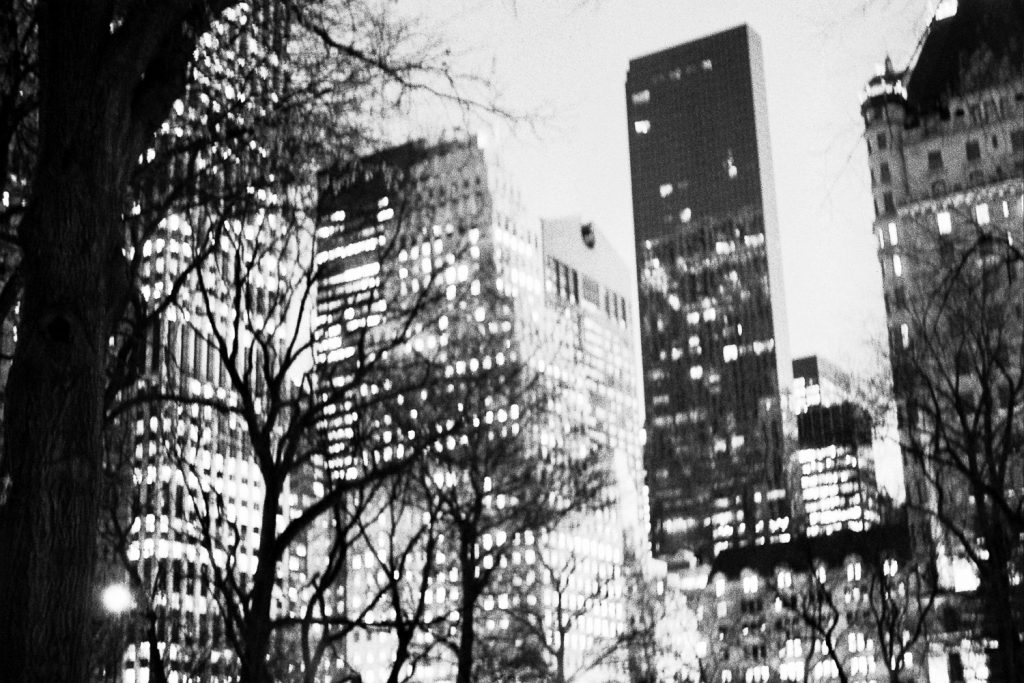 film bw photo at night of nyc skyline from central park by wendy g photography