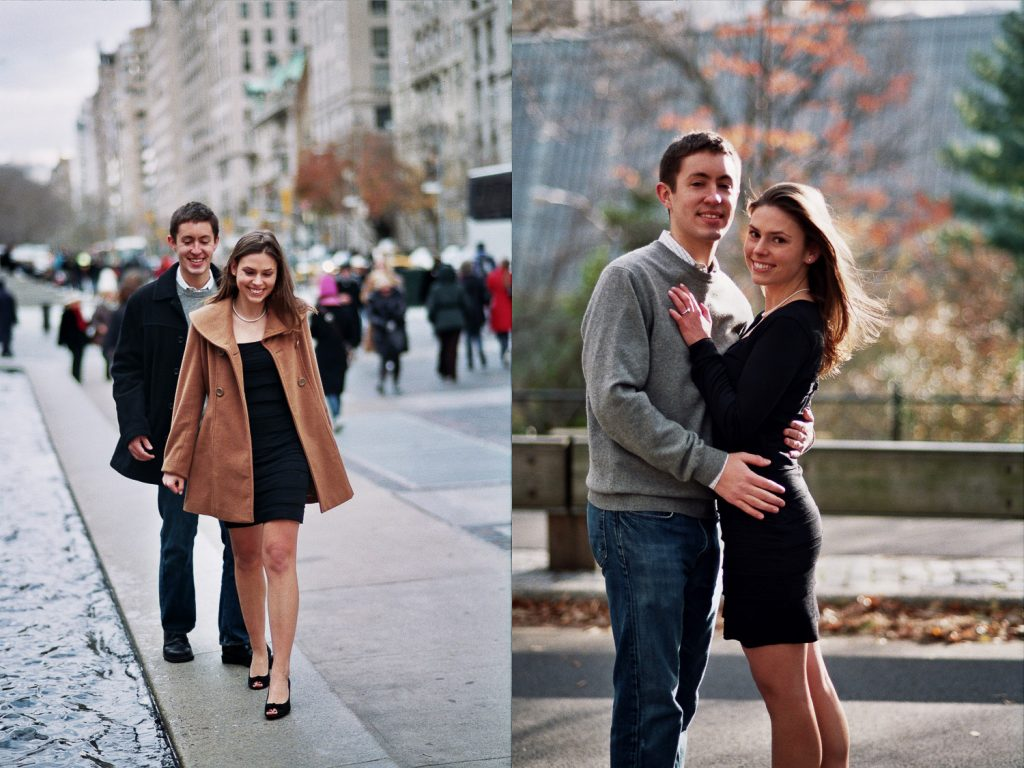 engaged couple posing together at the Met museum by wendy g photography