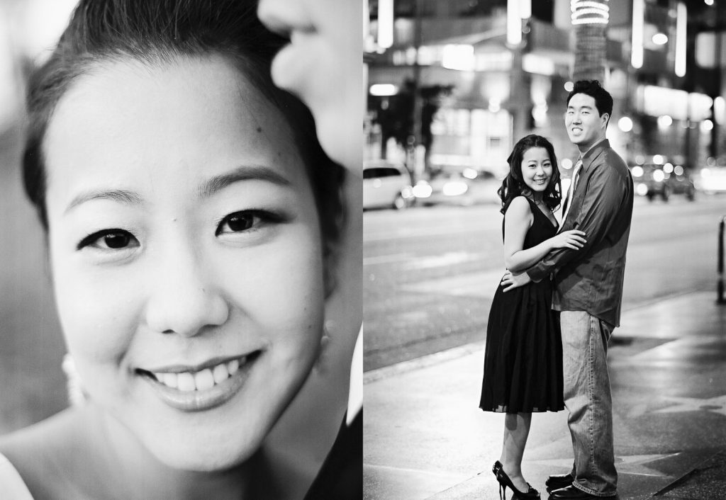 black and white hollywood engagement photos by wendy g photography