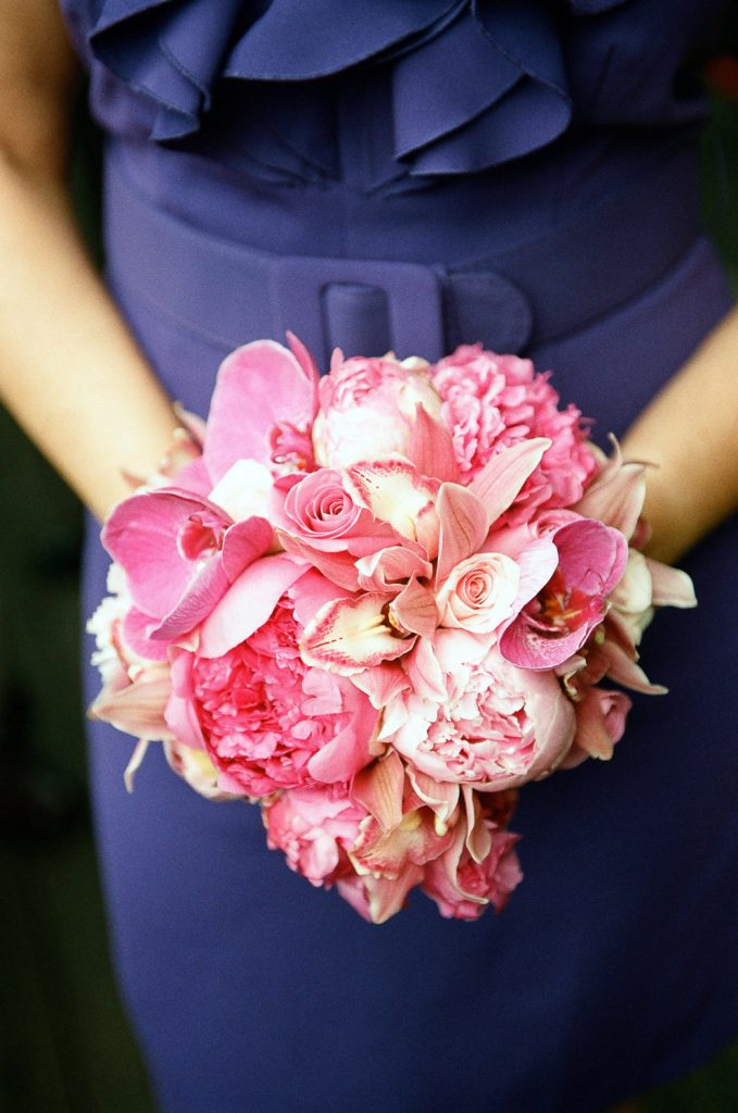 bridesmaid bouquet of pink flowers by wendy g photography
