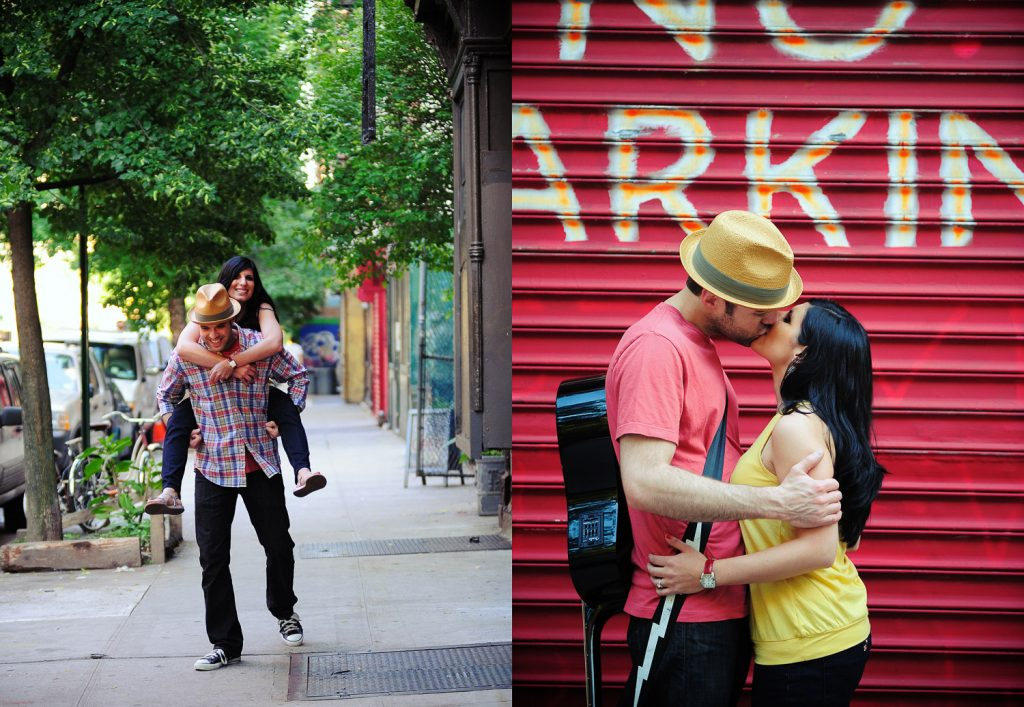 lower east side manhattan engagement photos with guitar by wendy g photography