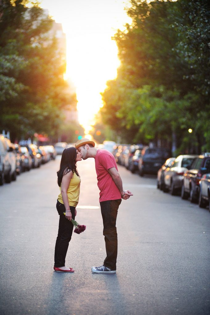 lower east side manhattan engagement photo with flowers by wendy g photography