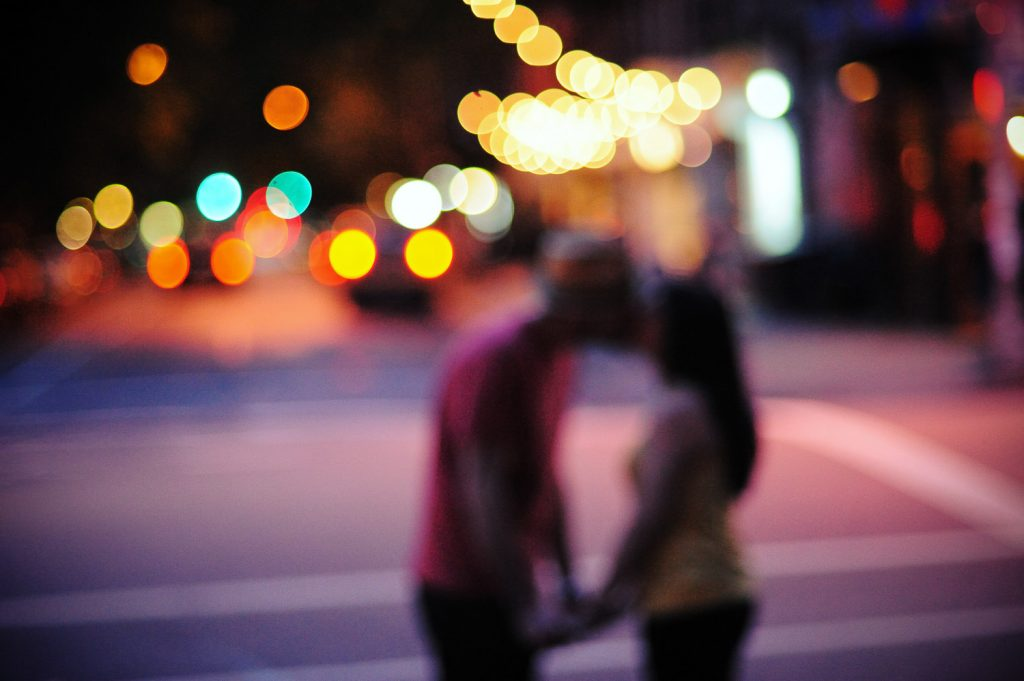 engagement photo at night by wendy g photography