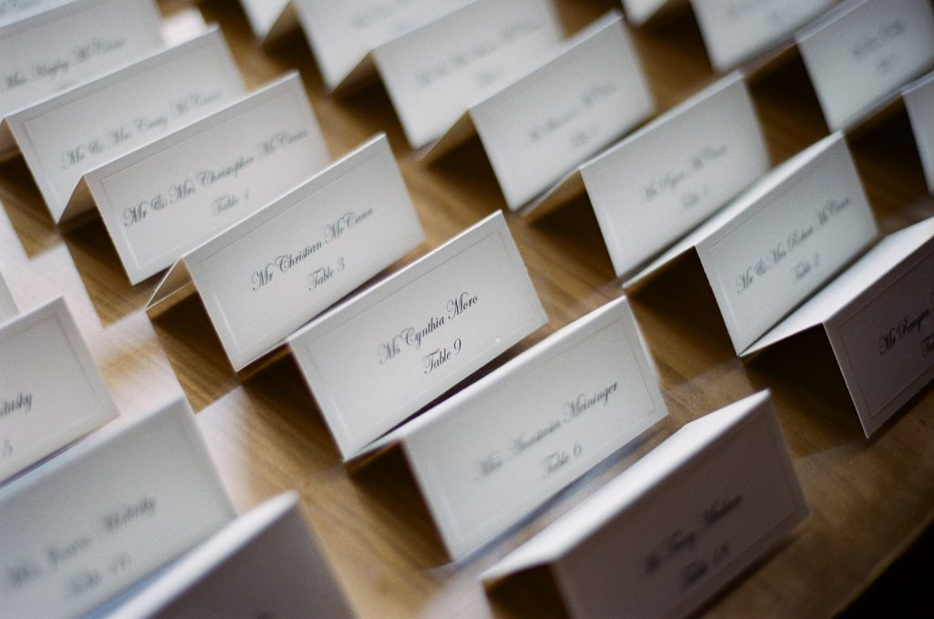 westchester wedding name cards photos by wendy g photography