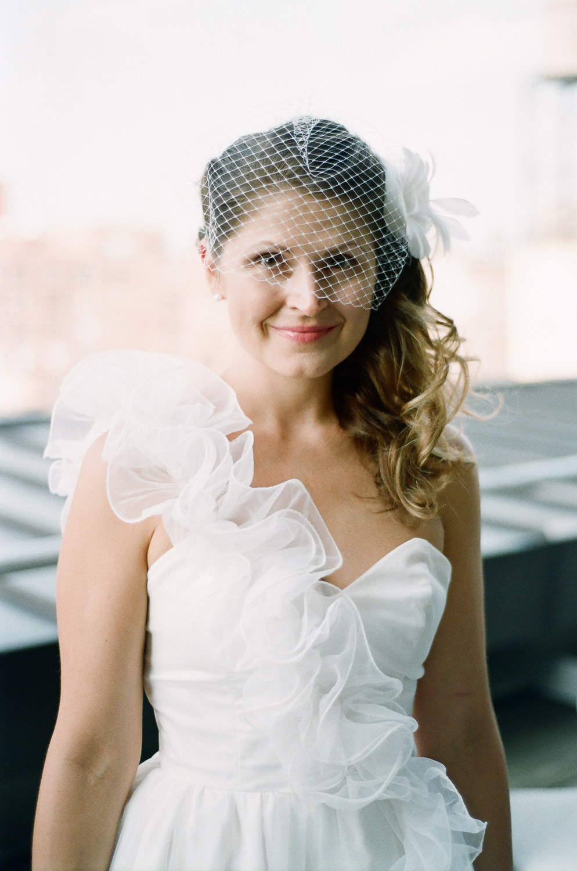 bridal portrait in one shoulder wedding dress