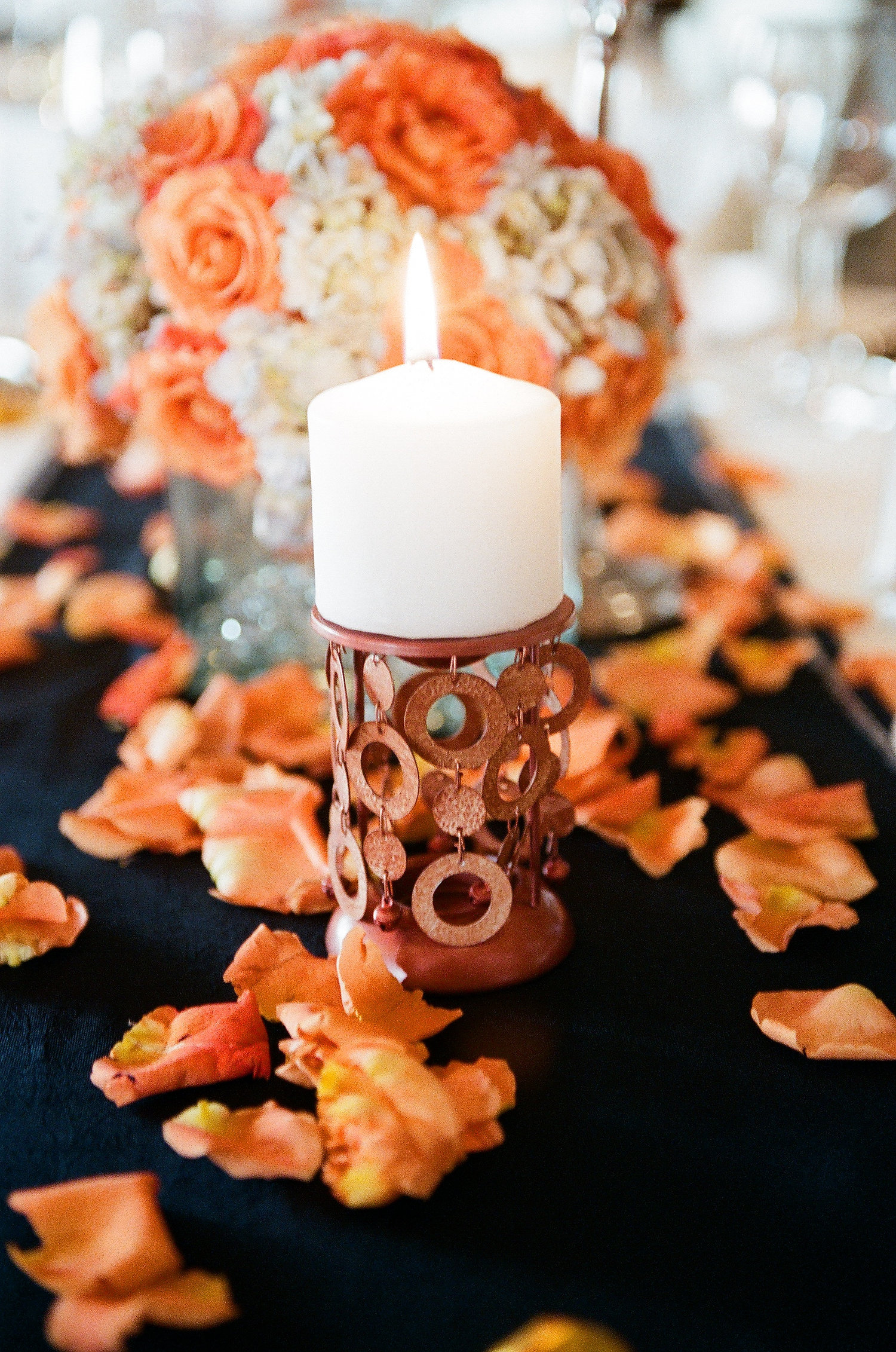 Wedding Table Candle and Flowers