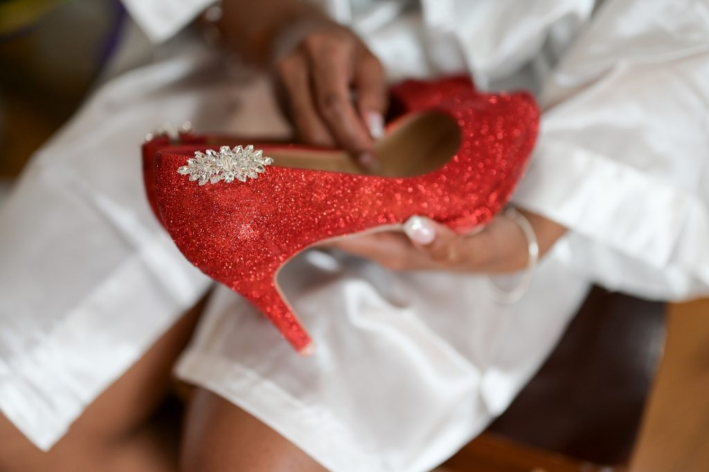 antique loft wedding red bridal shoes by wendy g photography