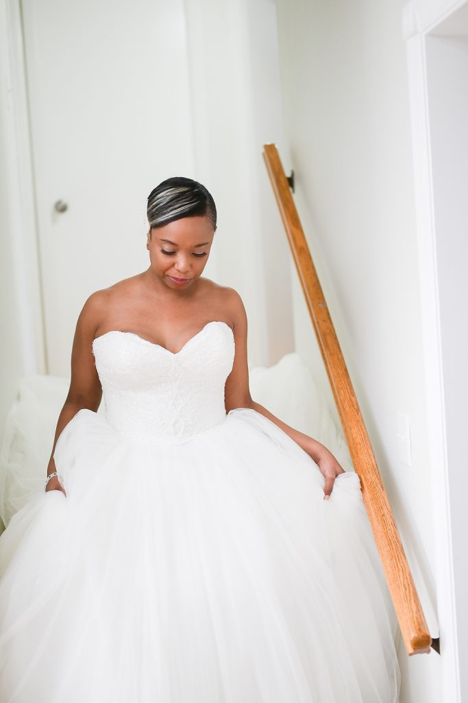 bride at antique loft wedding by wendy g photography