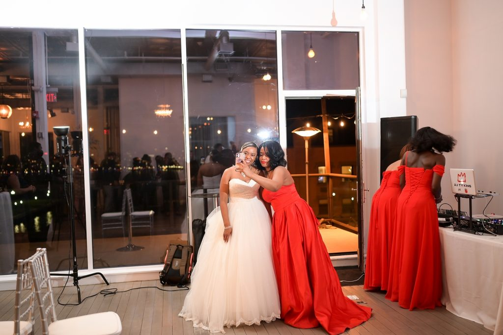 antique loft wedding laughter with bride by wendy g photography
