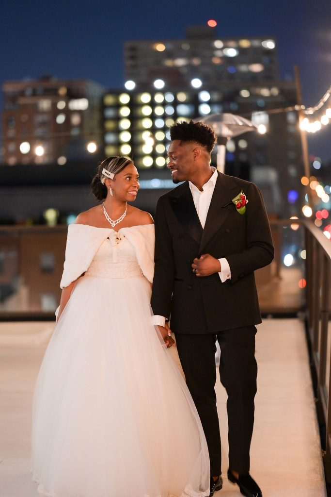 New Jersey loft wedding couple walking by wendy g photography