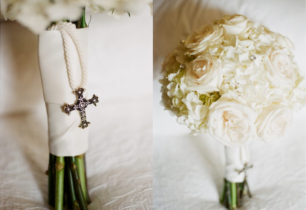 bridal bouquet with Christian cross detail
