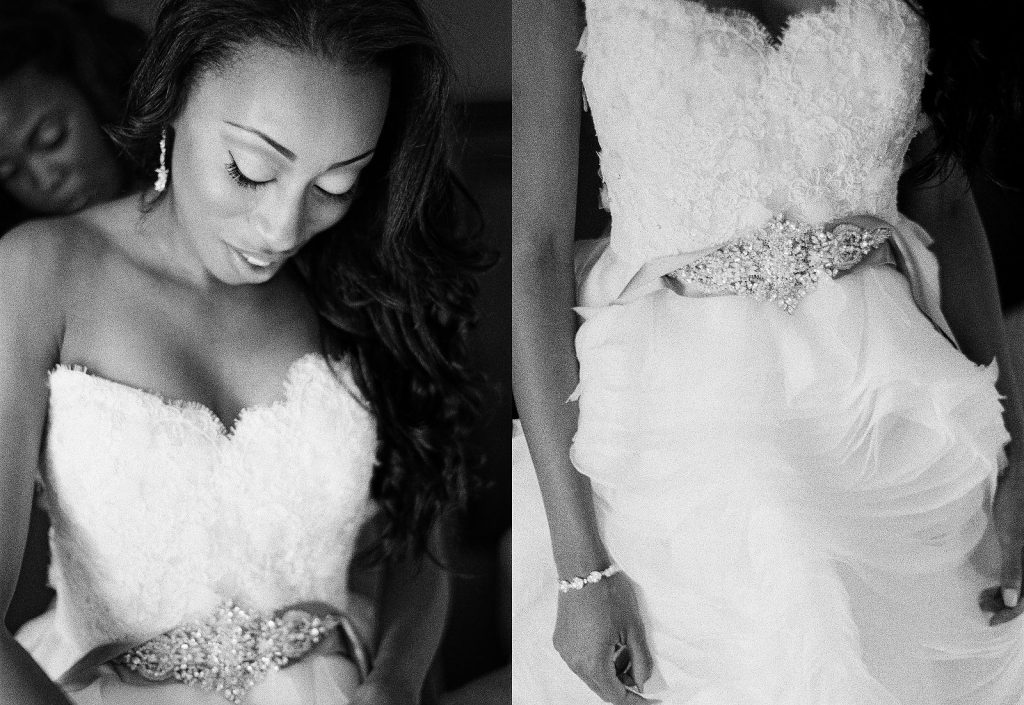 black and white photo of bride with her gown