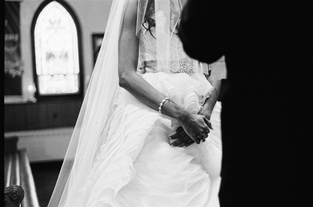 black and white photo of wedding couple during ceremony in south jersey