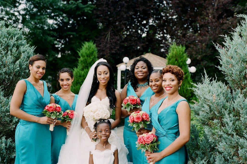 bridesmaids and bride at wedding venue in south jersey