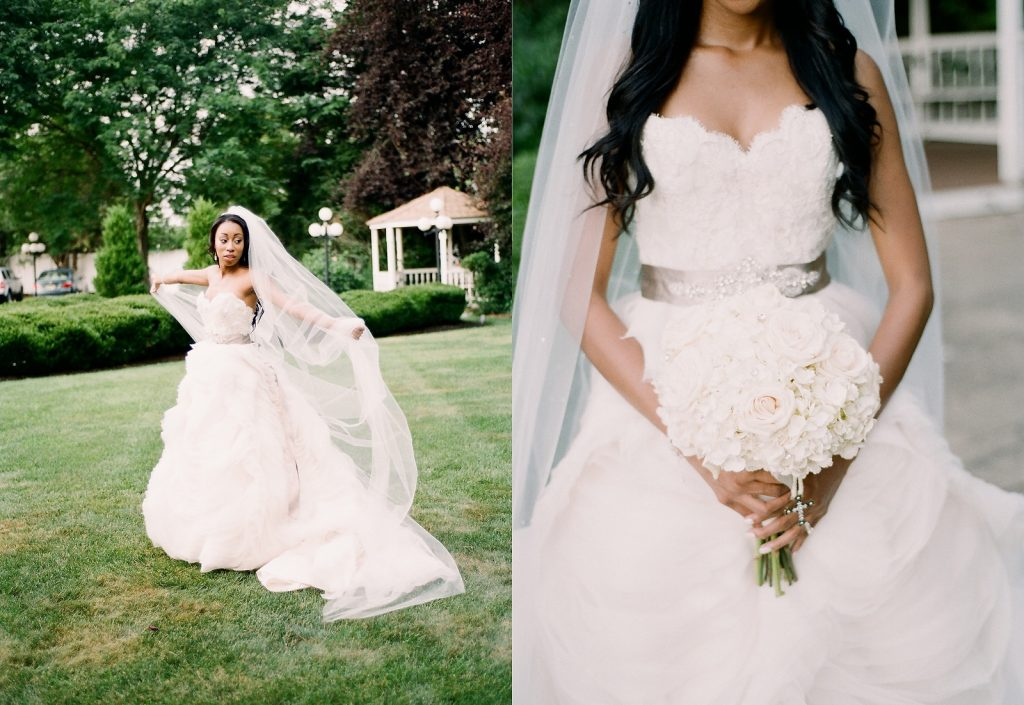 bride twirling in gown on grass